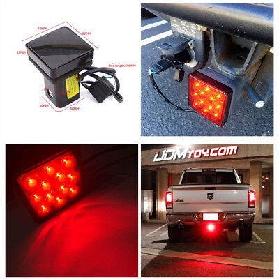 """Smoked Lens 12-LED Brake Light Trailer Hitch Cover Fit Towing Hauling 2"""" Size"""