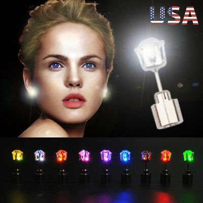 3-9 Pair Unisex Light Up LED Bling Ear Studs Earrings Accessories For Party/Xmas