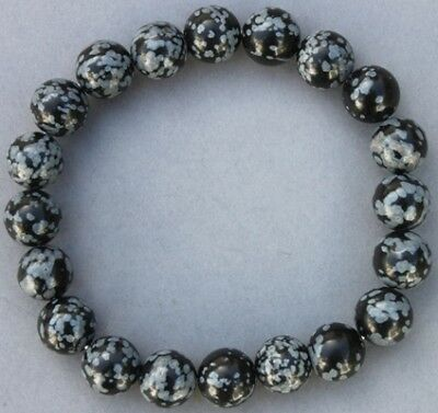 "Bracelet Obsidienne neige 10 mm ""Large"""