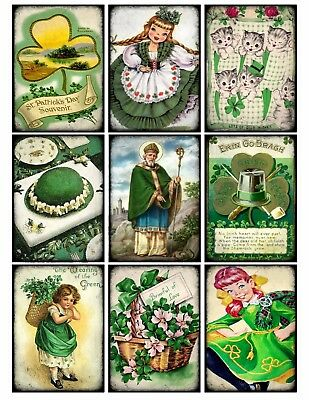 9 Retro Vintage St Patrick's Day Hang Tags Scrapbooking Paper Craft (274)