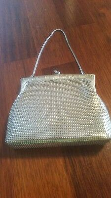 Vintage Glomesh silver sparkly evening bag with name tag and mirror