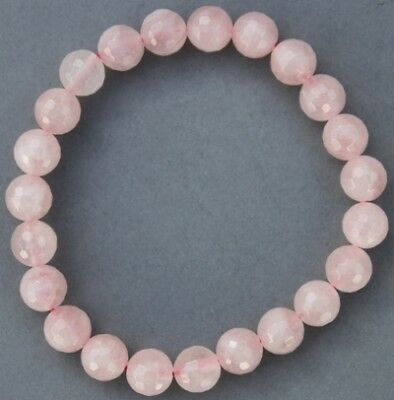 "Bracelet Quartz rose facetté 7/8 mm ""Large"""
