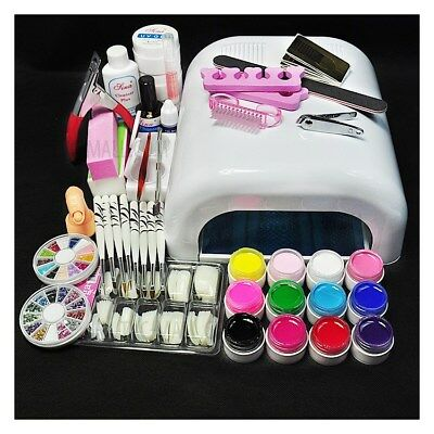 DIY Nail Art Tool Set 36W UV Gel White Lamp & 12-Color UV Gel Nail Art Tool Kit