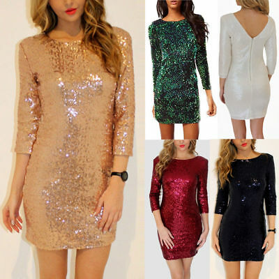 Women 3/4 Sleeve Sequin Cocktail Party Mini Dress Stretch Bodycon Gown Skirt