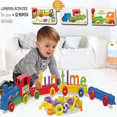 KIDS ABC ALPHABET Train Baby Toddler Learn Toy Colorful Building Blocks  Play Set
