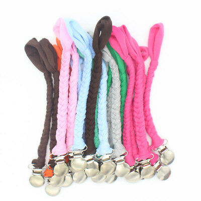Cotton Braided Baby Dummy Pacifier Clip Chain Infant Sensory Soother Holder