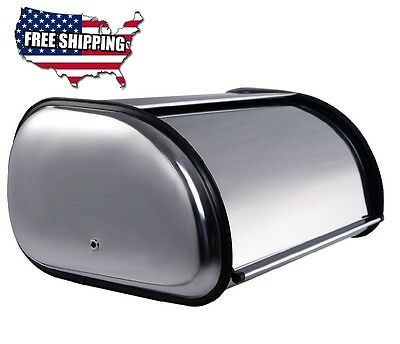 2 Loaf Bread Storage Box Roll top Large Stainless Steel Kitchen Decor Breadbox