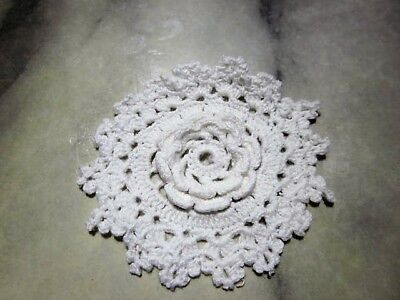 6 White Flower Medallions Cotton Crochet Doilies - 7cms approx