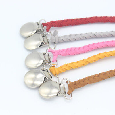 Handmade Leather Braided Suede Dummy Pacifier Clip Chain Baby Soother Holder