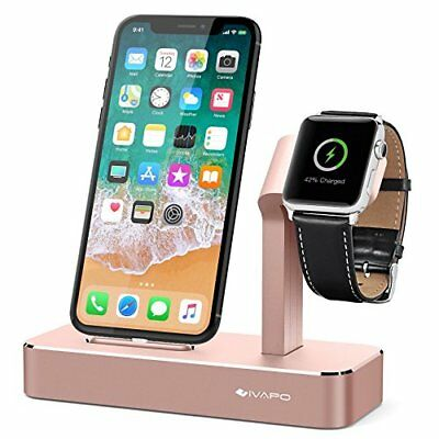 Aluminum 2 in 1 Charging Dock Stand Charger for Apple iWatch & iPhone Rose Gold
