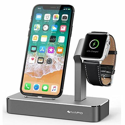 Aluminum 2 in 1 Charging Dock Stand Charger for Apple iWatch & iPhone Space Gray