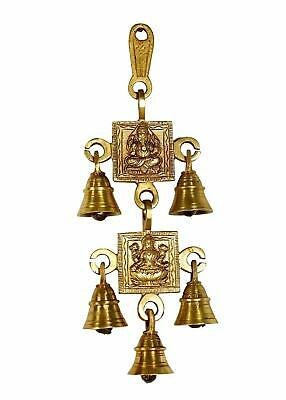 5 Brass Bells Hanging Hindu God Ganesha Satate Engraved For Luck Home Temple Use