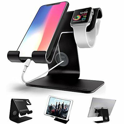 2 in 1 Aluminium Charging Stand Apple iWatch Smartphone & Tablets 12.9'' Black