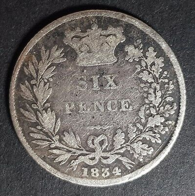 1834 King William IIII Silver Six Pence