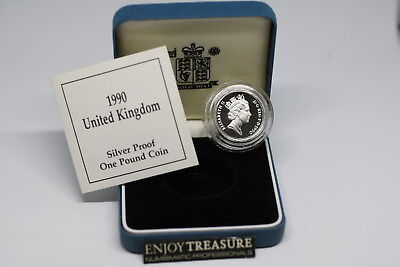 Uk Gb 1 Pound 1990 Silver Proof With Box & Coa A72 Cg30