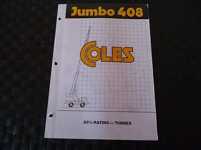 Coles Cranes Jumbo 408 85% Rating Duty Sheet 1724/8/83P Leaflet *as Pictures*