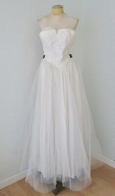 Vintage 1950's white tulle net formal wedding prom dress gown long bustier top