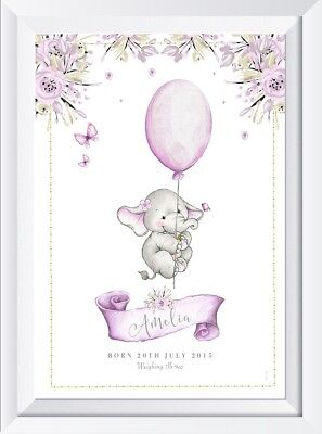 Personalised baby child elephant name print picture gift christening nursery art