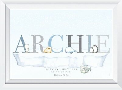 Personalised baby child artic animal name print picture gift christening nursery