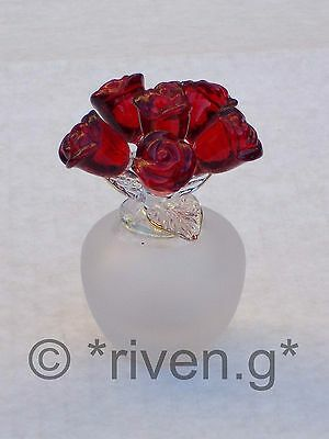 Red ROSES x 6@Frosted VASE@LOVING GIFT@22Ct Gold@VALENTINE BOUQUET@LOVE BUNCH