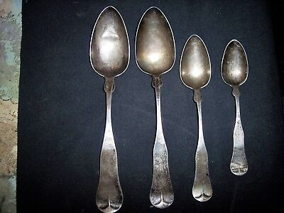 Four Tarnished 1800's Coin Silver Spoons. One C.E. Bacon Tree Stamped Durgin