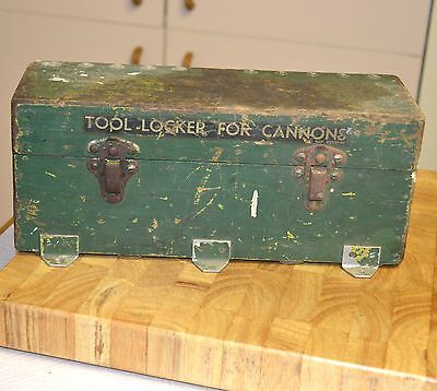 Antique 30cm Vintage Army Wood Box Chest Rustic Green Hinged Tool Locker Cannons