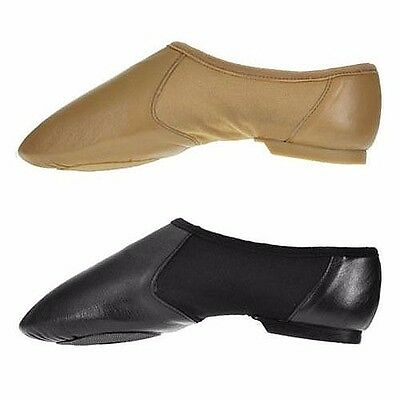 Black Tan Hyper Slip On Jazz Shoes with Split Rubber Sole