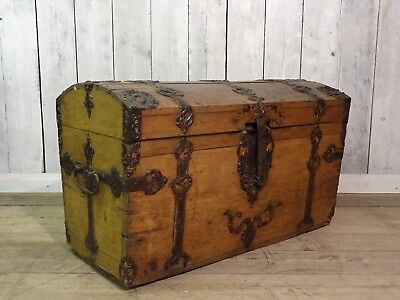 Large Ornate Antique Oak Dome Top Seaman's Chest With Iron Fittings