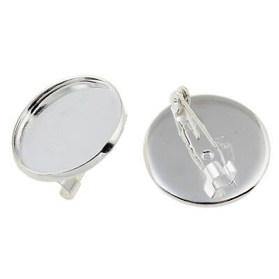 Silver Tone Round Circular Brooch Badge Setting Blanks Fits 20mm Cabochon