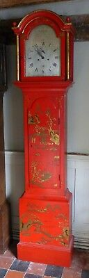 Geo Iii Red Lacquer Longcase Clock