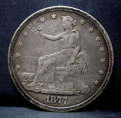 1877-S $1 Trade Dollar ✪ Vf Very Fine Details ✪ Damaged & Scratched ◢Trusted◣