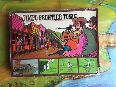Vintage Timpo 260 Wild West Frontier Town Buildings & Cowboys & Playmat  ~ Boxed