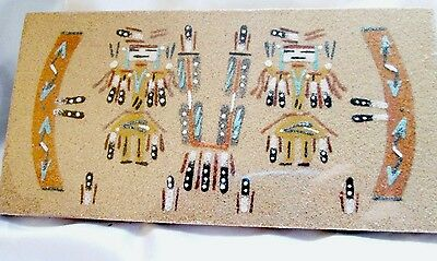 "Navajo Indian Sand Painting  Signed by Artist ""E Foster"" -  NIP"