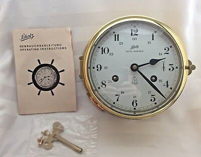 "Vtg Brass Schatz Royal Mariner Ship's Bell Clock Germany Key Manual 4"" UNUSED"