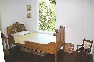 Charming Antique Pine Bed (TWIN SIZE) Beautiful Patina, Mid 1800s VERY SOLID