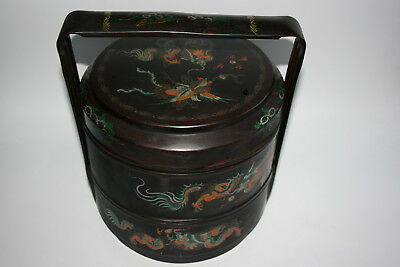 Antique /Old Chinese Wooden Lacquer Hand Painted Dragon Two Tiered Food Box