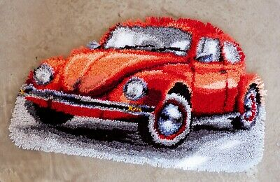 RED VW VOLKSWAGEN BEETLE CAR LATCH HOOK RUG KIT by VERVACO, BRAND NEW