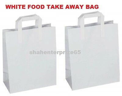 Paper Carrier Bags White Sos Kraft Takeaway Food Lunch Party With Handles 3 Size