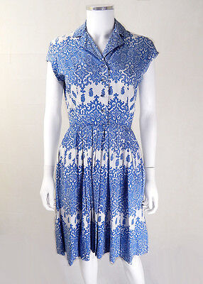 Original Vintage 1950s Blue and White 'China' Dress UK Size 8