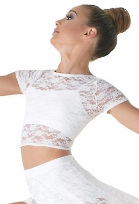 Dance Costume Large Child White Lace Crop Top Class Competition Ballet Jazz