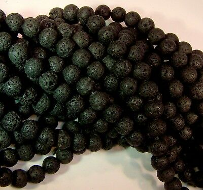 Natural Lava Beads Diffuser Beads Scent Aromatherapy Black 8mm Bulk Wholesale