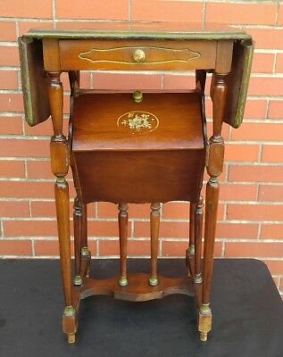 Rare Vintage Antique Tall Wood Hand Painted Sewing Table Night Stand End Table