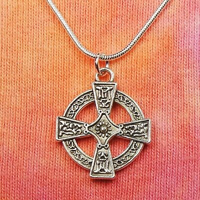 Celtic Cross Necklace, Equal Armed Square Greek Circle Charm Pendant Gift Box