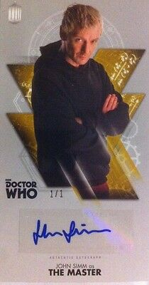 """TOPPS Dr Who OVERSIZED 2.5X4.75"""" Autograph Auto GOLD 1/1JOHN SIMMS-Not Signature"""