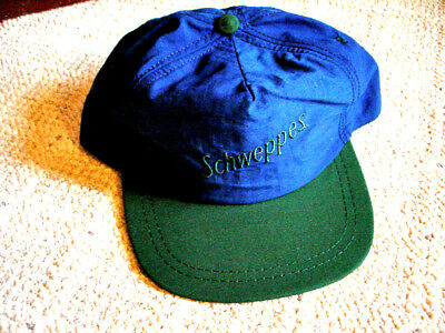 Vintage Schweppes Blue and Green Lightweight Baseball Style Cap - NOS
