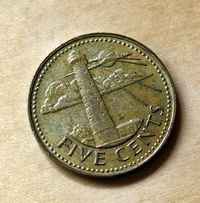 1982 Barbados 5 Cents South Point Lighthouse