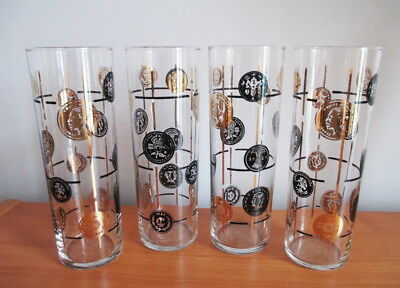 "Libbey Old Coins Tall Ice Tea Tumbler x 4 Black Gold 7"" MCM 1950s Safedge USA"