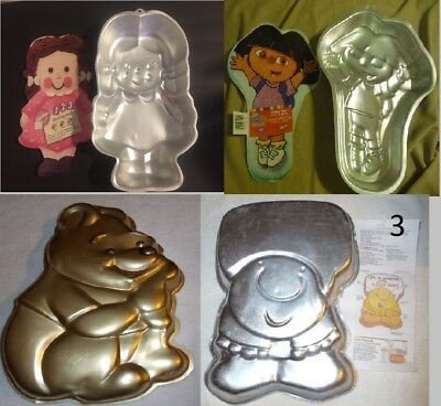Box Lot of 6 USED Wilton Cake Pans 3 Ziggy 1 Dora 1 Pooh and 1 Darling Dolly