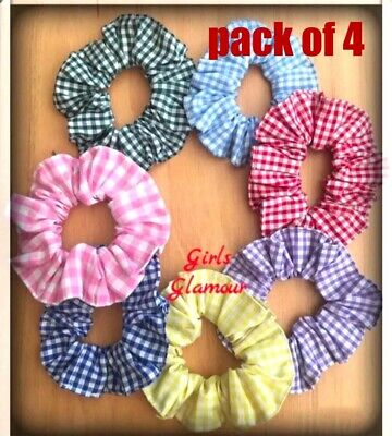 School Scrunchies Hairband Bow Bobbles Gingham Check Uniform Dress Tie Band