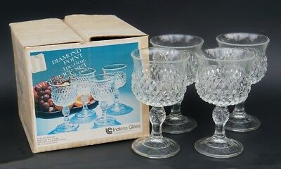 Vintage Boxed set of 4 Indiana Glass Diamond Point Crystal Goblet Glasses